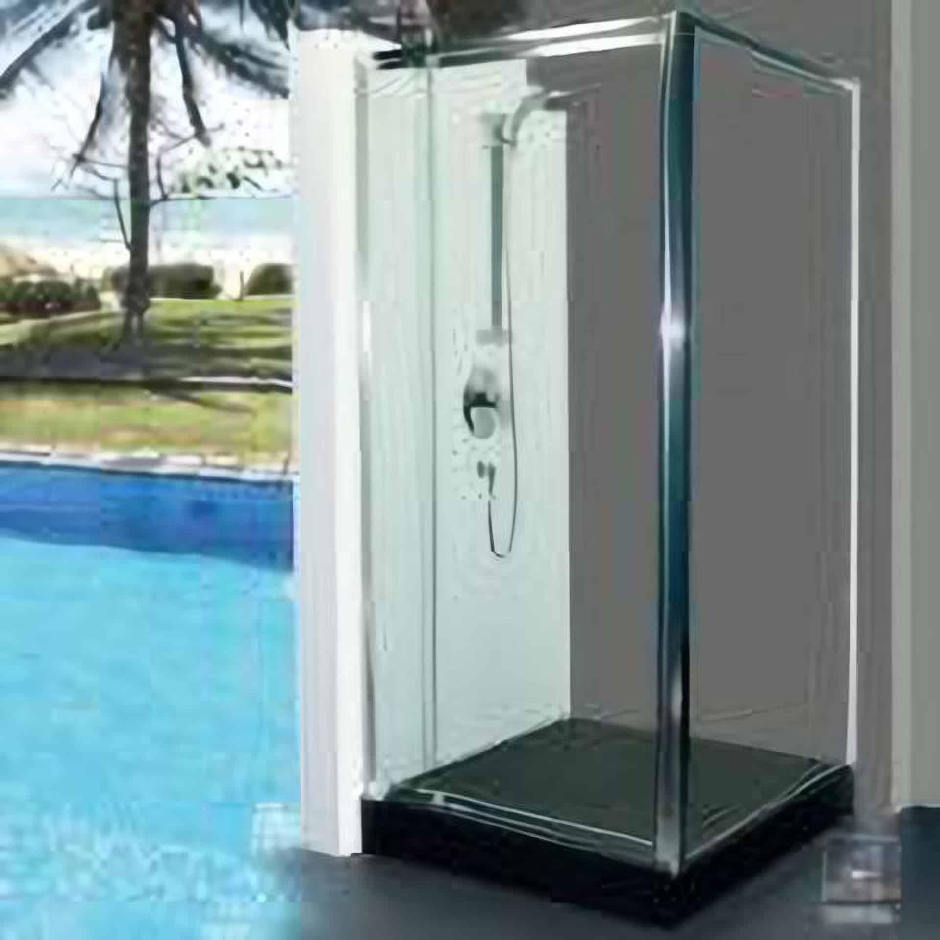 semi frameless pivot doors
