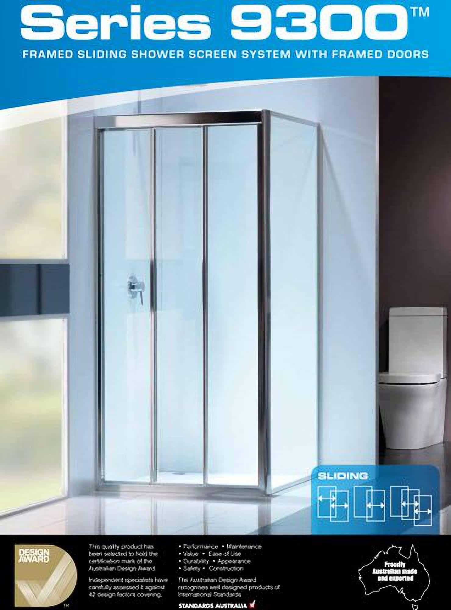series 9300 framed sliding shower screen
