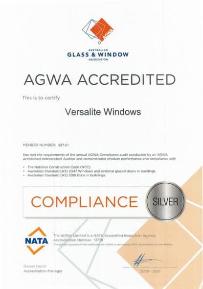 AGWA Accredited compliance Versalite Windows
