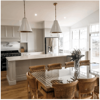 colour white kitchen and dining table