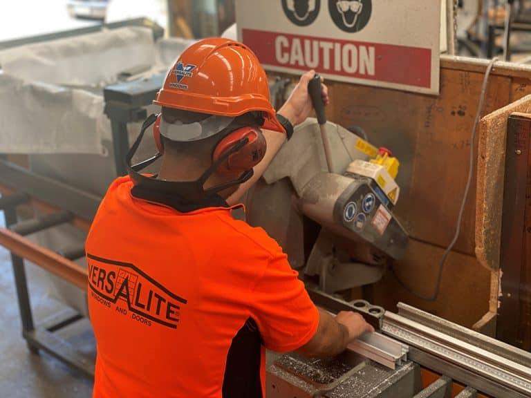 Versalite Windows staff in a saw station