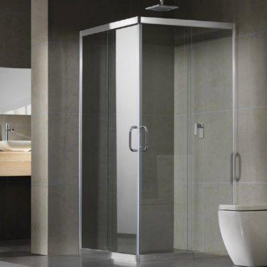 frameless shower screen in a corner