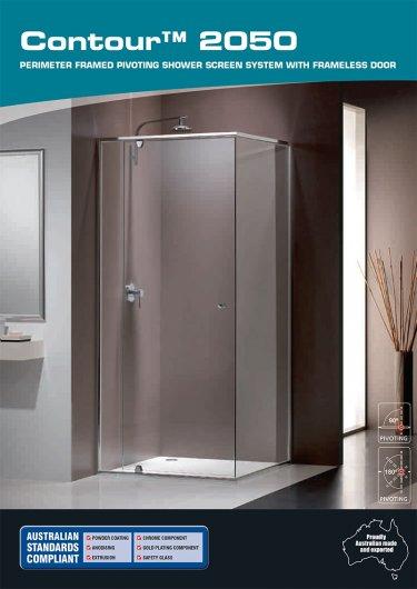 Contour™ 2050 perimeter framed pivoting shower screen system with frameless door