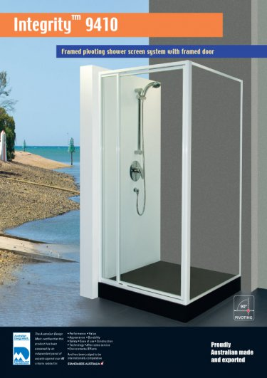 Integrity 9410™ framed pivoting shower screen system with framed door