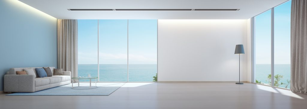 Sea,View,Living,Room,With,Wooden,Floor,And,Empty,White