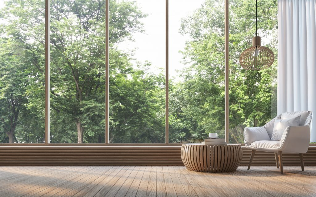 Modern,Living,Room,With,Nature,View,3d,Rendering,Image.,There